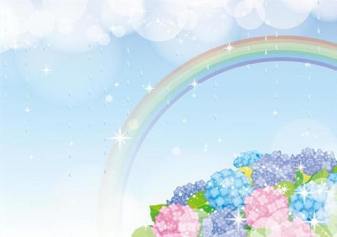 Rain and rainbow and hydrangea frame