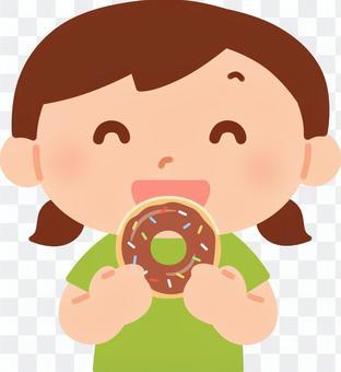 吃甜甜圈的女孩