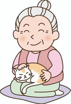 Grandma and a cat