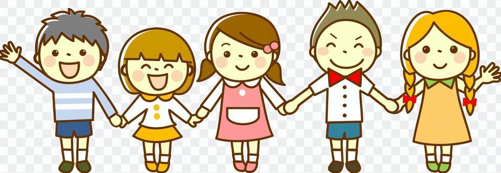孩子們手牽著手