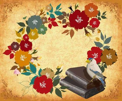 鳥和書和花花束留言卡