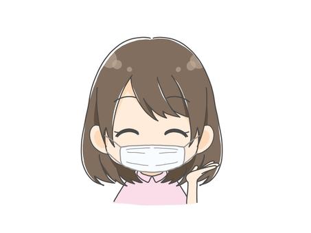 戴著面具的女孩微笑著引導你