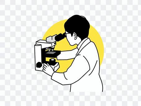 醫生看著顯微鏡