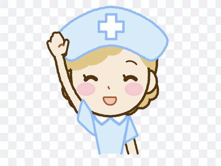 護士B-44舉起一隻手