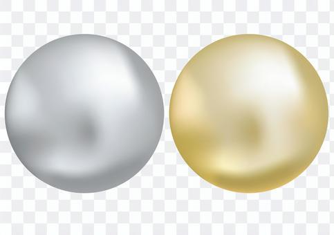 パチンコ玉、金と銀の金属ボール・球体