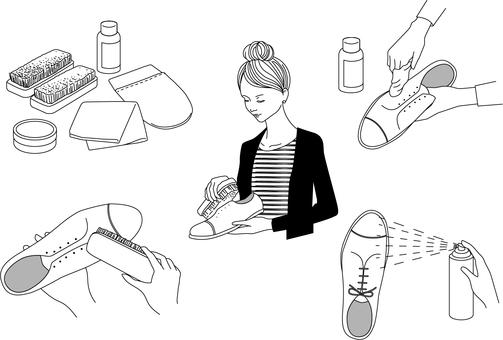 Illustration of shoe shine