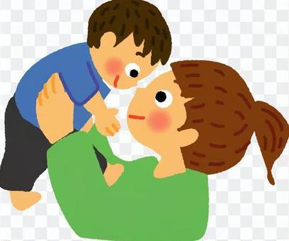 母親和兒子盯著對方