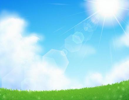大草原和太陽的風景