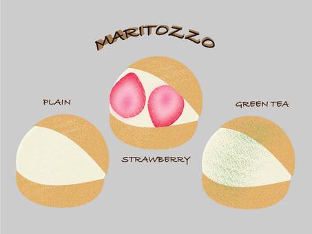 Maritozzo with three flavors