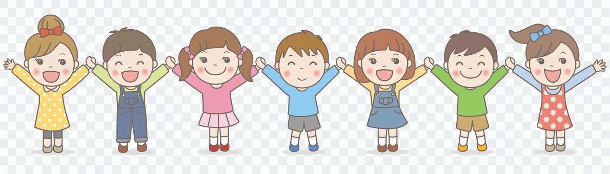孩子們手牽著手,做萬歲