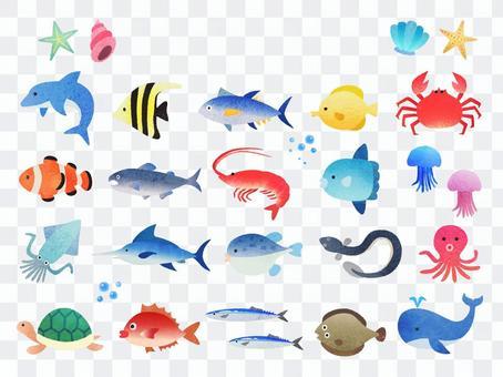 手繪風魚和水生插圖集