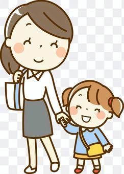 母親和女孩去上學