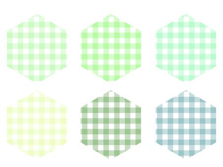 方格格子六邊形套裝:綠色