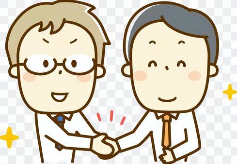 一個握手的商人
