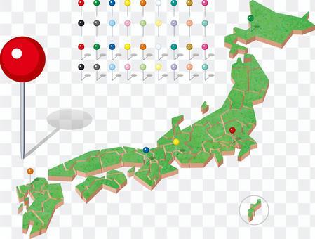 日本地圖3-D縣立地圖別針