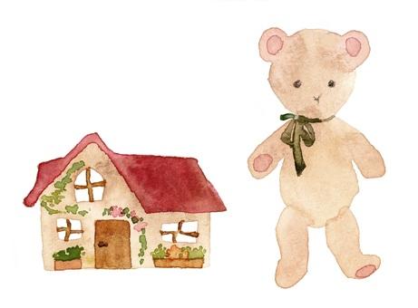 泰迪熊和微型房子透明水彩