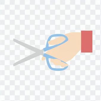 手 - 用剪刀的手(左)
