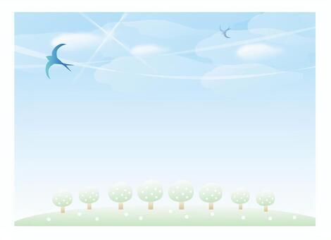 藍藍的天空和燕子
