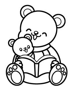Bear parent and child storytelling for coloring book