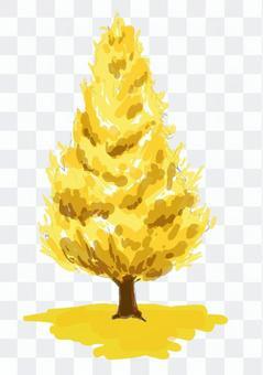 イチョウ 街路樹 紅葉 水彩 黄色 木