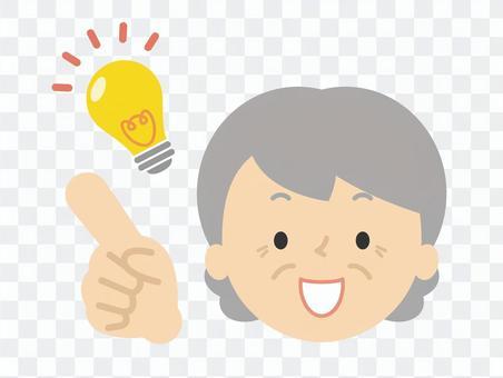 アイデア 指差し 電球 おばあちゃん
