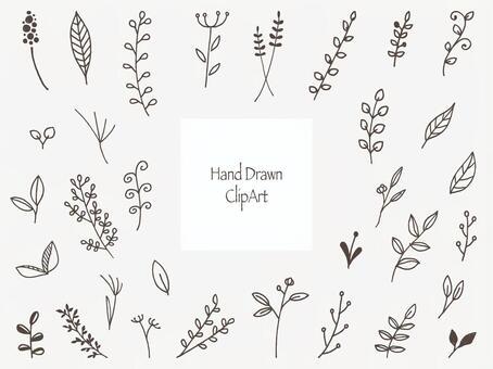 手書きのかわいい花と草の挿し絵セット