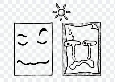 紙の収縮比較キャラクターイラスト手描き黒