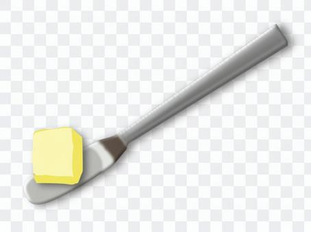 Butter knife with butter
