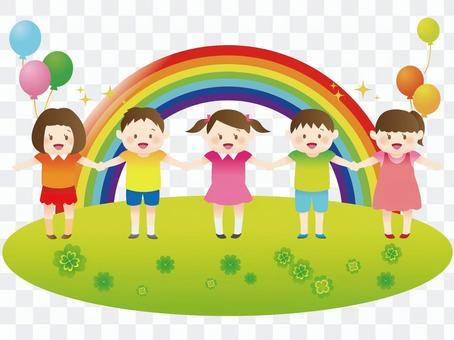 Rainbow with children