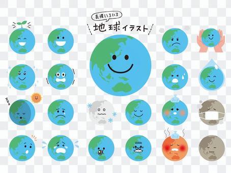 面部表情各種地球插圖