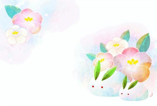 椿と雪うさぎの寒中見舞いハガキヨコ