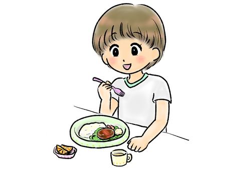 孩子吃米飯(漢堡包)