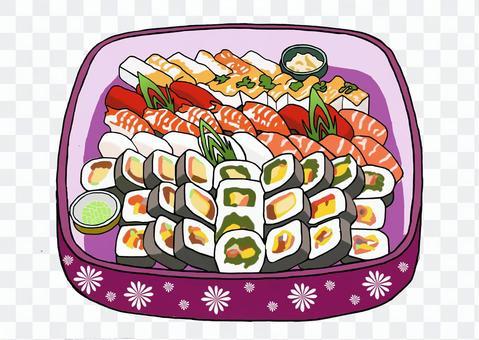 壽司什錦的浴缸