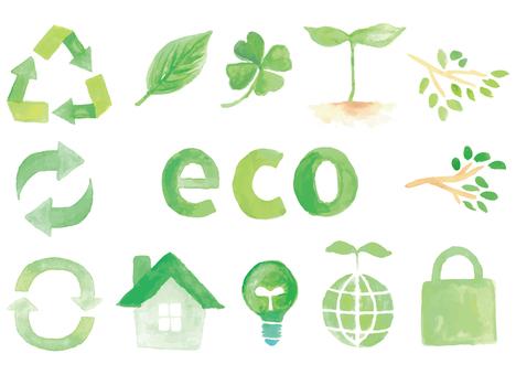 水彩生態綠色插圖集