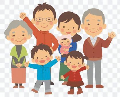 3世代7人家族 全身 冬服