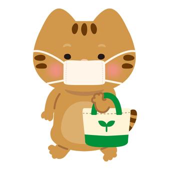 貓(購物/環保袋/戴口罩)