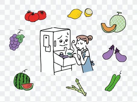 一個女人在看冰箱裡的東西