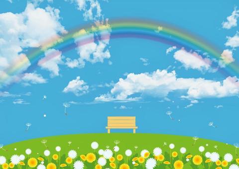 彩虹和綠色的山丘和長椅