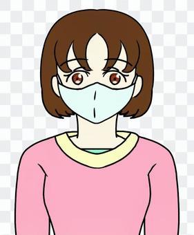 戴著面具的鮑勃頭髮的女人