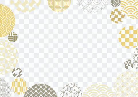 ポップな和パターンの背景イラスト02