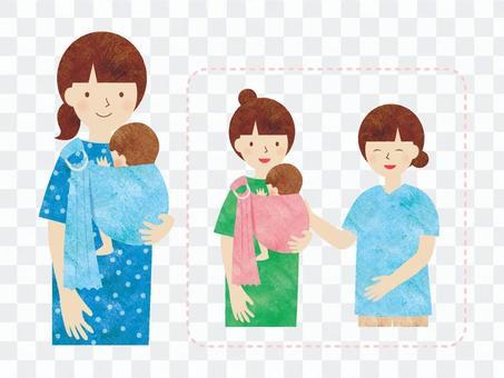 媽媽和支持者在吊索中擁抱