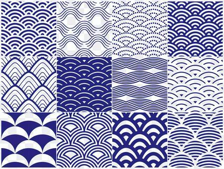 日本圖案12種圖案的波浪圖案