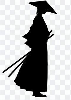 Samurai (profile) and silhouette