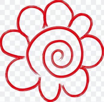插圖花圈得分圖標紅色郵票線
