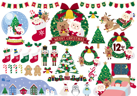 Christmas illustration material set