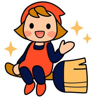 女清潔工在掃帚上的插圖