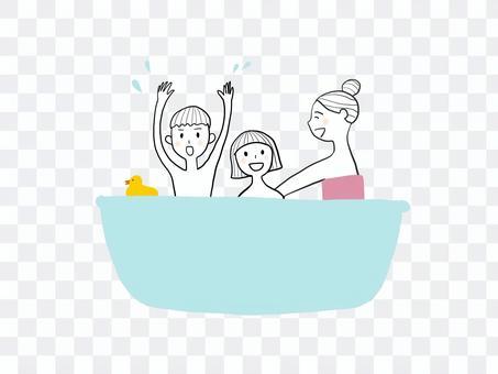 入浴する親子