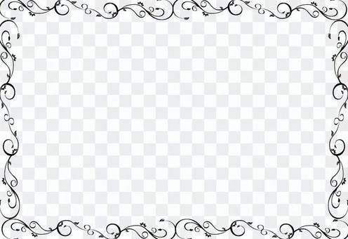 典雅的Karakusa裝飾框架-黑色和白色