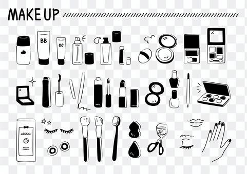 Illustration of make-up goods Monochrome