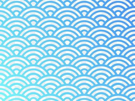 漸變青海波浪紋:藍色x淺藍色